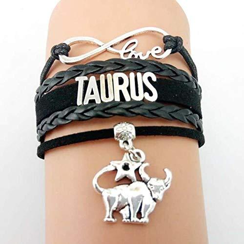 Constellation Armband Leder,Sternbilder Leder Armband, Taurus Glücksbringer Anhänger Buchstaben Sternzeichen Multilayer Wrap Verstellbare Armband Handgefertigte Vintage Punk Für Männer Frauen Arm