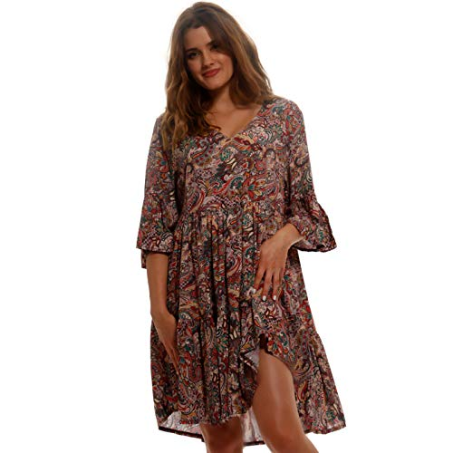 YC Fashion & Style Damen Tunika Kleid Sommer mit Patchwork Muster Boho Look Partykleid Freizeit Minikleid oder Strandkleid HP219 Made in Italy (One Size, Model 13)