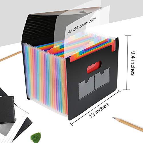 Expanding File Folder 24 Pockets Portable Accordion File Organizer with Expandable Cover Letter Size Desktop Plastic Folders Colored Paper Document Paperwork Receipt Organizer Photo #4