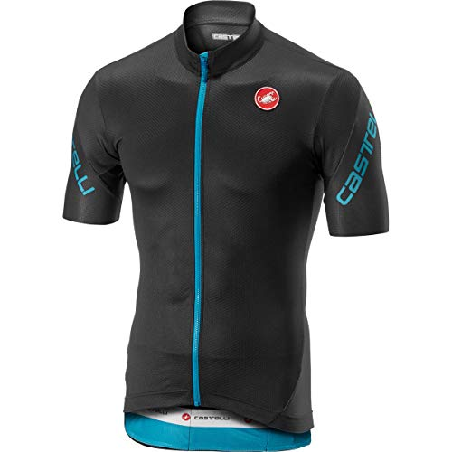 CASTELLI - Camiseta para Hombre con Entrada 3 FZ, Hombre, Camiseta, 4518010, Dark Gray/Sky Blue, L