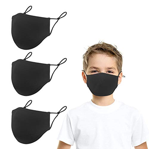 Cloth Reusable Face Protector with Adjustable Earloops - Washable Comfort Cotton 3-Ply Face Mouth Shield for Kids Children Teens Dust Outdoor Protection - 3 Pack, Black