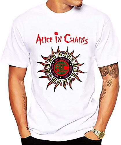 New Letter Casual T-Shirts Alice in Chains Sun Printing Short Sleeve White Cotton T Shirt Brand Tees & Tops WhiteM