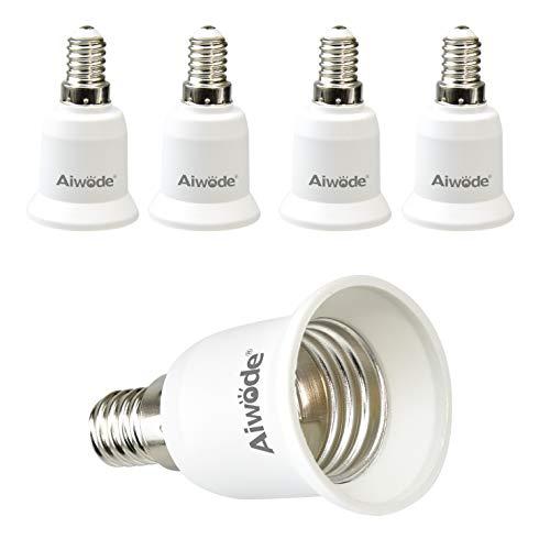 Aiwode E14 a E27 Adattatore,Convertitore da Presa,E14 Portalampada per Lampadine LED e incandescenza e CFL,Potenza Massima 200W,0~250V,5 Pezzi.