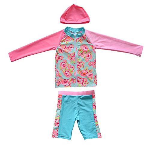 女の子 ワンピース 水着 キッズ ラッシュガード水泳 スイムウェアベビー 子供 セパレート 長袖 スクール水着 紫外線カット 帽子付き 2点/3点セット (6タイプ&6色 90〜160cm ) (C-ピンク1, 110CM)
