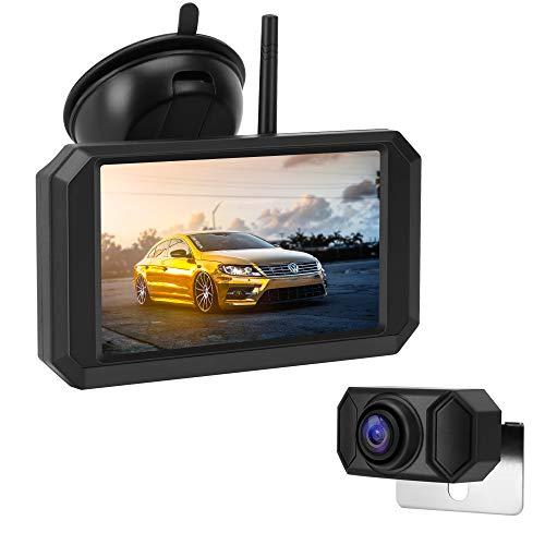 Jansite HD720P Digitale achteruitrijcameraset, 5 inch TFT-LCD-monitor met stevig signaal, waterdichte supernachtzicht-achteruitrijcamera voor bestelwagens, rails, autos en campers, eenvoudige installatie