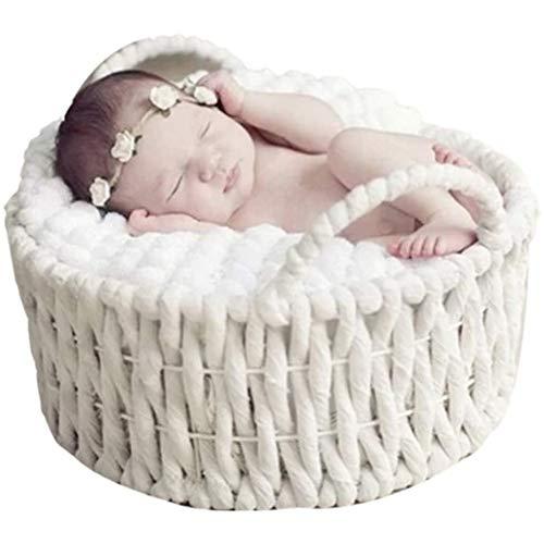 Yiyu Bebé Cesta de Apoyo de la Foto del bebé Suave Creativa del Apoyo de la fotografía del bebé Que presentan Prop x (Color : White)