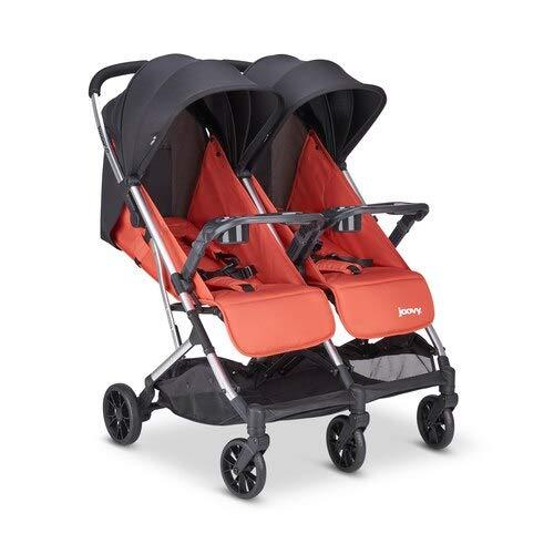 Joovy Kooper X2 Double Stroller, Lightweight Stroller, Compact Fold with Tray, Paprika