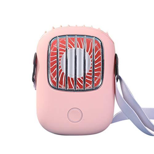 SODIAL Ventilador PortáTil para Colgar en el Cuello Ventilador Personal Manos Libres Ventiladores USB PortáTiles Recargables con CordóN Ajustable Rosa
