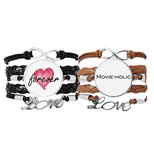 Bestchong Elegante palabra holic Art Deco regalo pulsera de moda correa de mano cuerda de cuero Forever Love pulsera doble conjunto