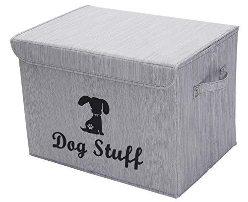 Geyecete Linen Dog Storage Basket Bin Chest Organizer with Lid and Handles - Perfect for Organizing Dog Toys Dog Clothing Storage Trunk-Slub Gray-Dog