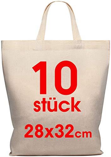 10 Stück 28x32 cm Baumwolltasche midi – Jutebeutel – Natur Apothekertasche, Tragetasche Set Beutel, Geschenktasche OEKO-TEX® zertifiziert Stofftasche unbedruckt, Henkel klein zum bemalen und bedrucken