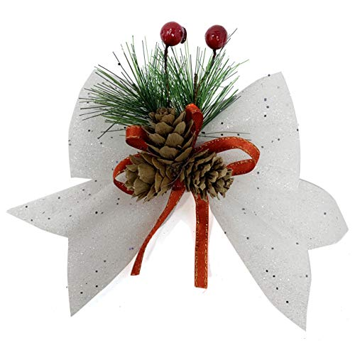 allgala Christmas Decorative Bows for Wreath Garland Treetopper Christmas Tree (07' Med White 4-PK)-XBW93051
