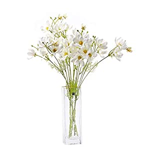 cn-Knight Artificial Wild Flower Cosmos 12pcs Long Stem Coreopsis for Wedding Bridal DIY Bouquet Home Décor Centerpieces(White)