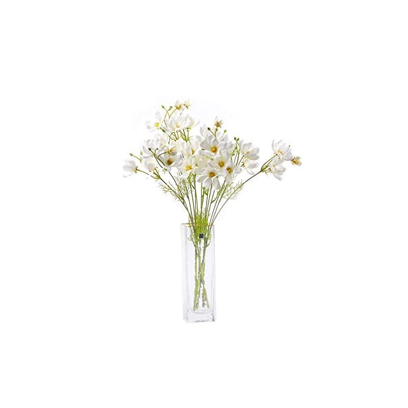 silk flower arrangements cn-knight artificial wild flower cosmos 12pcs long stem coreopsis for wedding bridal diy bouquet home décor centerpieces(white)