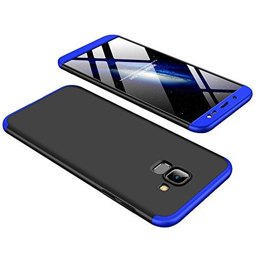 Cover Samsung A99 2018,Cover TPU Galaxy On 6 Ultra Sottile Silicone Cover,360° della Copertura Completa Protettiva Case 3 in 1 Guscio Compatibile Samsung J6 Blu +3D Vetro Temperato
