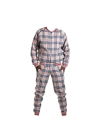 MrTailor Chándal para hombre a cuadros | Chándal de ocio y chaqueta | Chándal moderno | Chándal moderno | Pantalones a cuadros para hombre marrón L