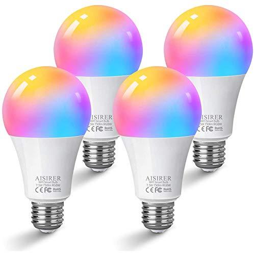 Alexa Glühbirnen E27 Smart LED-Lampe, AISIRER WLAN Birne Kompatibel mit Alexa Echo, Google Home, kein Hub benötigt, 7.5 W Wifi RGB Bulb, Dimmbares Mehreren Farben, Warmweiß/Kaltesweiß licht (4 Stück)
