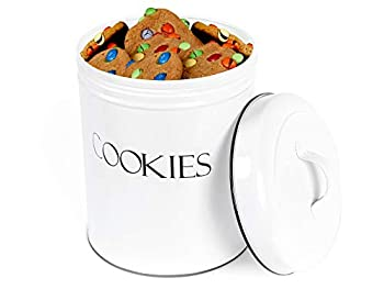Outshine White Vintage Farmhouse Cookie Jar   Airtight Food Storage Container with Lid for Cookies Biscuits Baked Treats Snacks   Gift for Housewarming Birthday Wedding Christmas