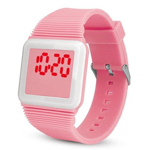 Yivise Niños Electrónica Digital LED Reloj de Pulsera de Silicona Niños Niños Chicas Estudiante Colorido Creativo Novedad Relojes(H)
