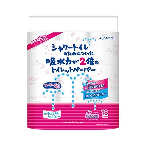 エリエール シャワートイレのためにつくった吸水力が2倍のトイレットペーパー 25m(112シート)×18ロールダブル パルプ100% フラワーブーケの香り