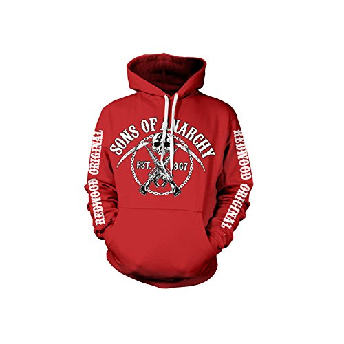 Sons of Anarchy Chain Logo Kapuzenpullover (Rot), X-Large