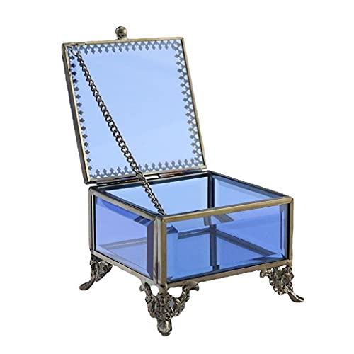 Schmuck Schmuckglas Glas Box Retro dekorative blaue Fall romantische Ring Ohrring Box Kommode Schmuck Organizer