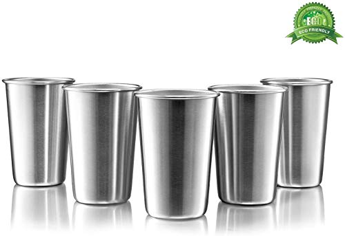 Modern Innovations 16 Oz Premium Stainless Steel Pint Cups (5 Pack) - Stackable Pint Cup Tumblers...