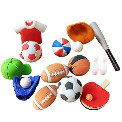 PRETYZOOM 50Pcs Sport Radiergummi Gummi Mini Fußball Radiergummi Basketball Cartoon Radiergummi Werkzeug Kinder Schreibwaren für Kinder Schule