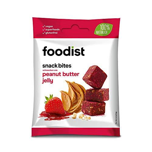 Foodist Snack Peanut Butter Jelly mit Dattelbasis, Fruchtriegel ohne Zuckerzusatz, glutenfrei, Mini Müsliriegel Bites im 10er Pack - Köstlich für Zwischendurch (10 x 55g)