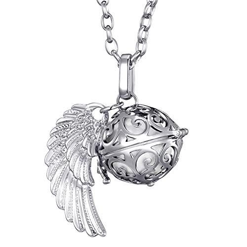 Morella Damen Schutzengel Halskette Edelstahl 70 cm mit Anhänger Engelsflügel und Klangkugel weiß Ø 16 mm in Schmuckbeutel