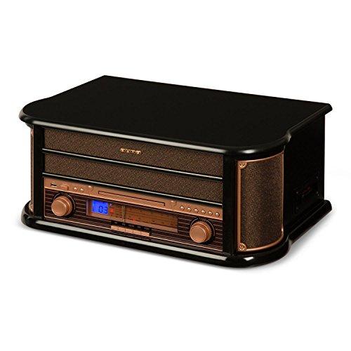 auna Belle Epoque 1908 Retro-Stereoanlage Bluetooth Musikanlage mit Plattenspieler (MP3-fähiger USB-Slot, CD-Spieler, Kassettendeck & Radio) braun