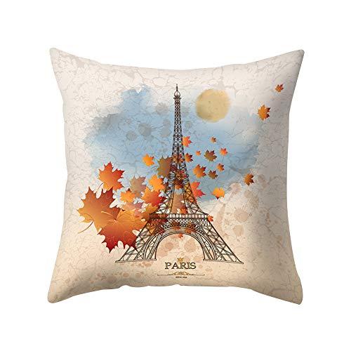 JujubeZAO Housse de Coussin Tour Eiffel, cœur, Feuille, Fleur, canapé, lit, Voiture, café, décoration pour la Maison