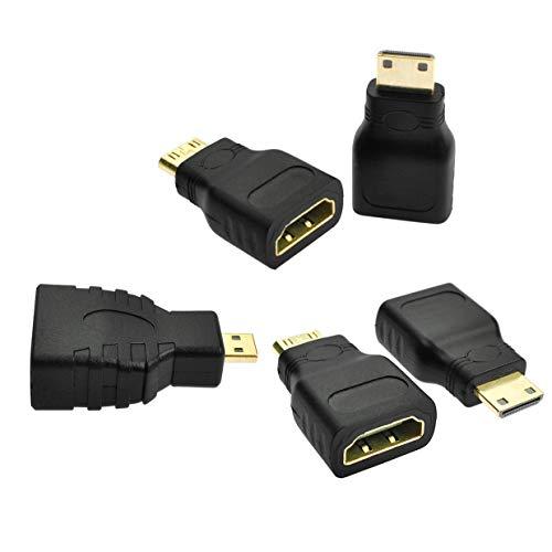 BOINN 5 Piezas Adaptador Chapado en Oro Macho una Hembra de Alta Velocidad Type C Compatible para Raspberry Pi Zero, CáMara, VideocáMara, DSLR, Tableta,Etc
