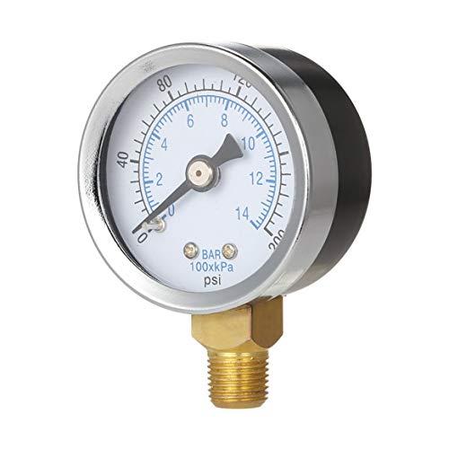 KoelrMsd 0-200psi 0-14bar Mini medidor de presión Dial medidor de compresor de Aire Probador de presión hidráulica Medidor de Doble Escala Montaje Lateral