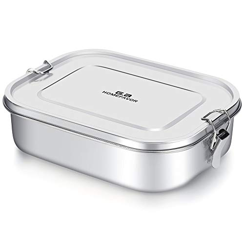G.a HOMEFAVOR Stainless Steel Bento Lunch Food Box Container, Large 1400ML Metal Bento Lunch Box Container for Kids or Adults - Lockable Clips to Leak Proof - BPA-Free - Dishwasher Safe