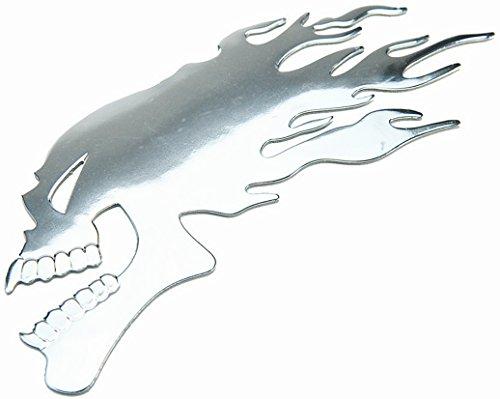 PRESKIN – 3D Totenkopf Flamme Chrom Silber Hochglanz Aufkleber Selbstklebende Metall-Optik Sticker Decal für Auto, KFZ, Motorrad, Roller, Notebook, Haustür, Kühlschrank …