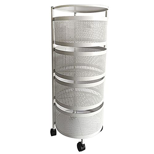 ZJFF Mensola Girevole Rotonda da Cucina con Ruote Rack di Stoccaggio Mobile Scaffali per Frutta e Verdura a Pavimento Multistrato(Size:4 Layers,Color:Bianco)