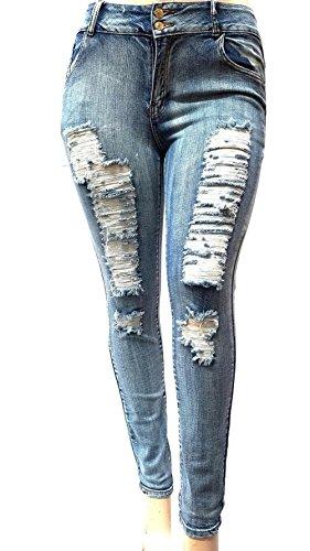 Jack David/1826 JEANS Womens Plus Size Acid Wash Distressed Ripped Blue Skinny Denim Jeans Pants (18)