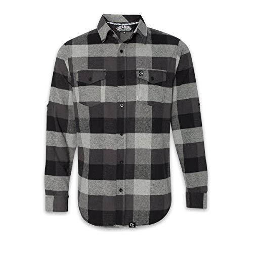 Loose Riders Camisa de manga larga de franela gris, gris, S