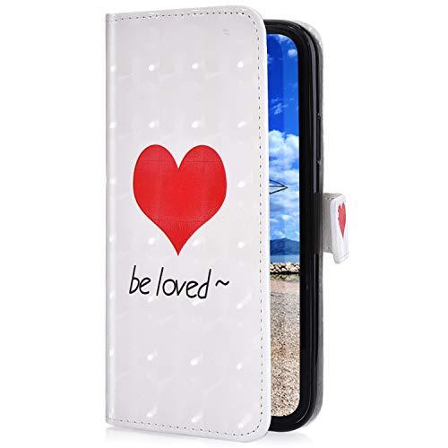 Uposao Etui iPhone 8 Coque en PU,iPhone 7 Pochette Portefeuille Housse en Cuir à Rabat, Glitter Imprimé 3D Effet Motif Coloré Coque Folio Flip Case Cover pour iPhone 7/8,Coeur d'amour