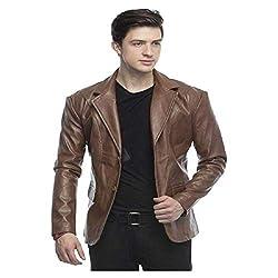 FASHION GENUINE LEATHER Mens Leather Blazer