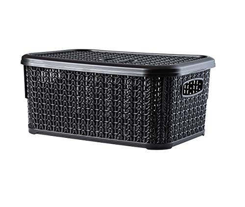 KADAX Aufbewahrungskorb mit Deckel, 6L, Aufbewahrungskiste aus Kunststoff, rechteckiger Korb für Aufbewahrung, Bad, Küche, Kinderzimmer, Aufbewahrungsbehälter, Aufbewahrungsbox (schwarz)