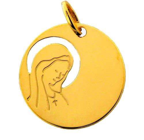 Medalla DE bautizo virgen calada 9 K, color dorado
