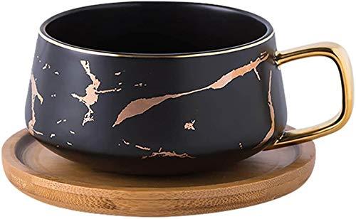 TELANKS 2 Stücke Espressotassen, 300 ml Cappuccino Tassen Set, Marmor Kaffeetasse mit Untertasse, Porzellan, 2 Tasse, 2 Untertasse, 2 Löffel, Schwarz