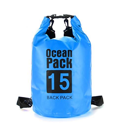 FEIYI Bolsa seca para camping, 6 tamaños, 2/5/10/15/20/30L, impermeable, bolsa seca para kayak, canoa, camping, al aire libre, bolsa de almacenamiento azul (color: azul, tamaño: 10L)