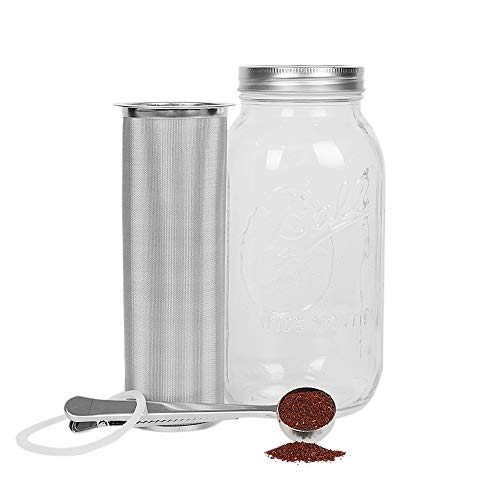 Cold Brew Coffee Maker Filter for 2Quart/64ounce Wide Mouth Mason Jar-Iced Coffee&Tea&Fruit Maker-Food-grade 304 Stainless Steel coffee Filter-Free silicone seal gasket&Coffee Scoop.(Jar NOT Included)