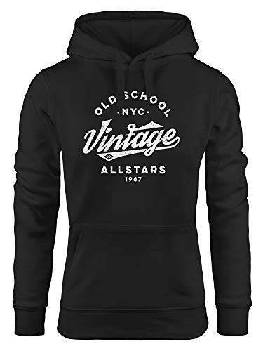 Neverless Sudadera con capucha para mujer, estilo universitario, texto 'Oldschool Vintage Allstars' Vintage Co. Negro. S