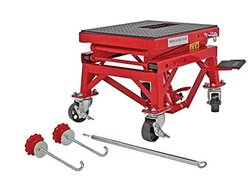 Extreme Max 5001.5083 Hydraulic Motorcycle Lift Table – 300 lb. , Red