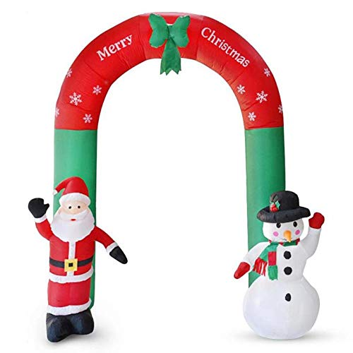 8 Foot Lighted Christmas Inflatable Archway with Santa Claus and Snowman Decoration,Xmas Inflatable Lighted Blow up Archway for Outdoor Indoor Home Garden Yard Prop