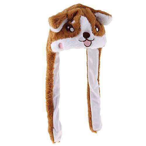 Abbraccia おかしいぬいぐるみコーギー動物犬耳帽子ジャンプ移動可能な仮装グッズキャップ